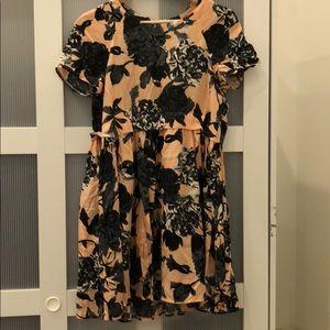 ASOS mini pink and black floral dress